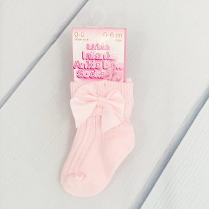 Baby Girls Pink Ankle Socks with Bow
