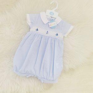 Baby Boy's Blue Stripe Romper Suit