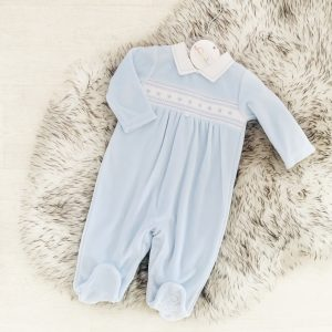 Baby Boys Blue Velour Babygrow
