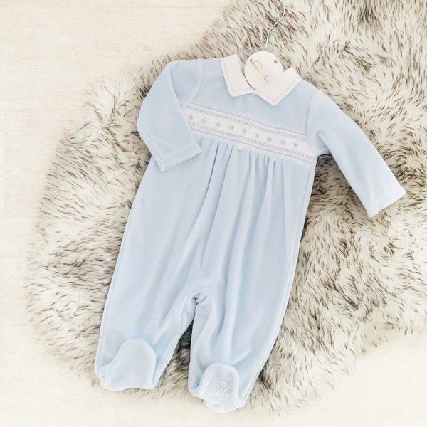 Baby Boys Blue Velour Babygrow