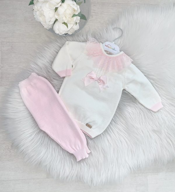 Baby Girls knitted Ivory & Pink Set