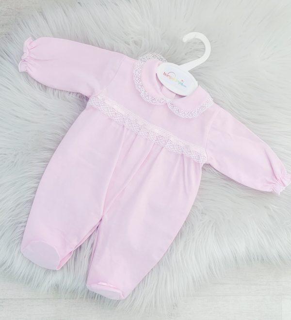 Baby Girls Pink Lace Babygrow