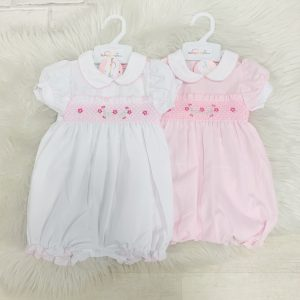 BABY GIRLS PINK BABYGROW WITH FRILL COLLAR