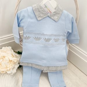 Baby Boys Blue Crown Top & Trousers