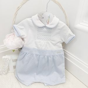 Baby Boys Blue & White Summer Romper