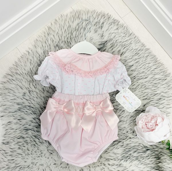 Baby Girls Pink Bow Two Piece Set