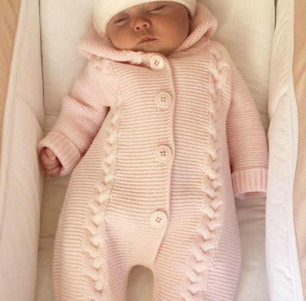 Baby Girls Pink Knitted Pram Suit