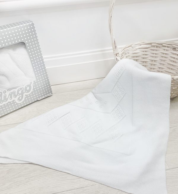 White Knitted Baby Blanket