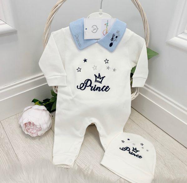 Baby Boys Ivory & Blue Prince Babygrow