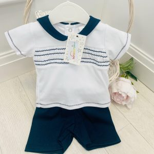 Baby Boys Navy Top & Shorts Set