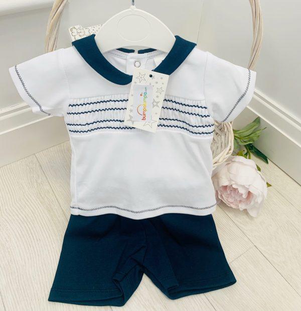 Baby Boys Navy Top & Shorts Set