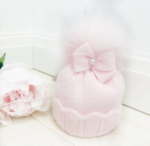 Baby Girls Pink Bow Pearl Pom Pom Hat