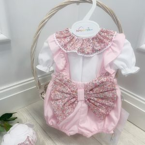 Baby Girls Pink Floral Dungaree & Top