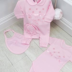 Baby Girls Pink 5 PC Babygrow Set