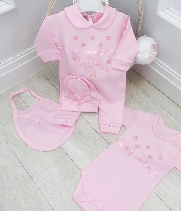 Baby Girls Pink 5 PC Babygrow Set