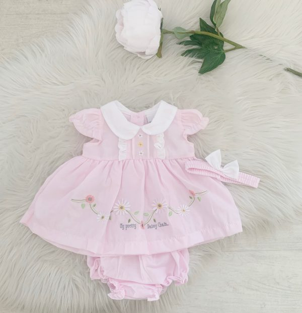Baby Girls Pink Daisy Dress Set