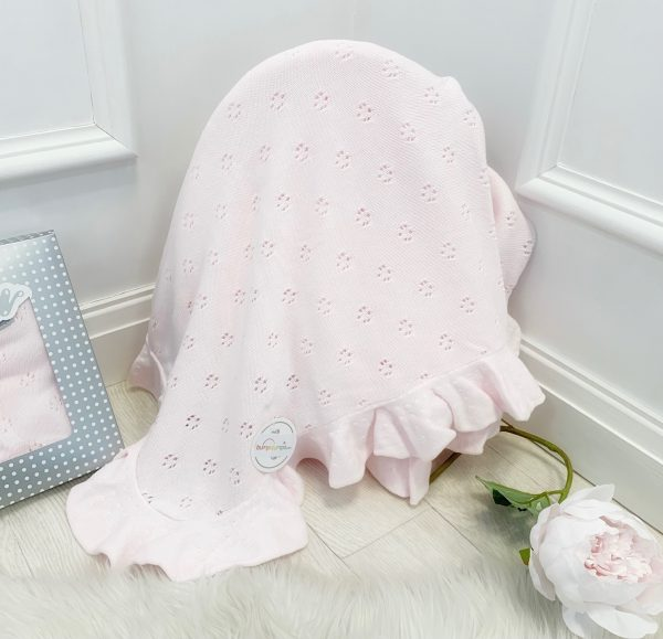 Baby Girls Pink Frill Blanket
