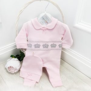 Baby Girls Pink & Silver Babygrow Set
