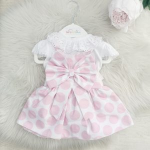 Baby Girls Pink Spotted Pinafore Dress