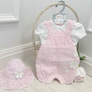 Baby Girls Stripe Dungaree & Hat Set