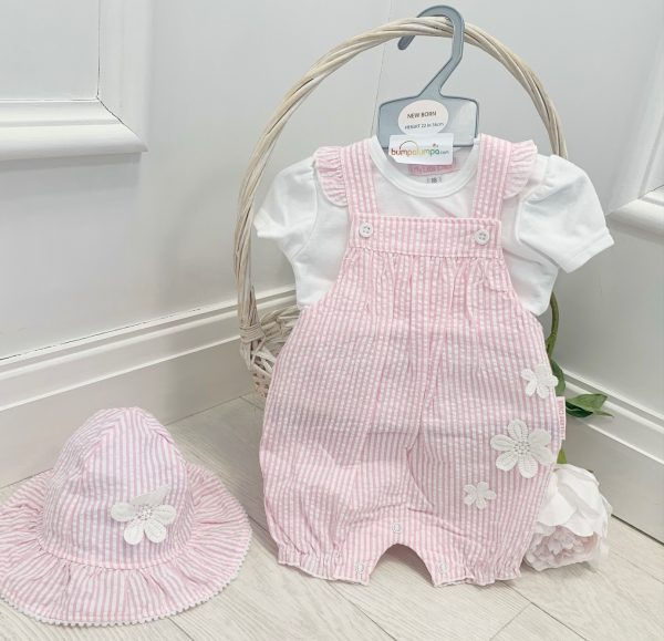 Baby Girls Stripe Dungaree & Hat Set
