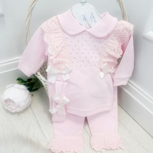 Baby Girls Pink Top & Trousers with Frills