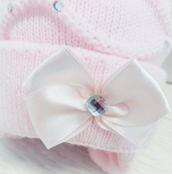 Baby Girls Pink Pom Pom Hat Ballerina
