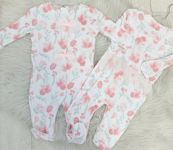 Baby Girls Pink Floral Babygrow with Bows
