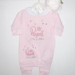Baby Girls Princess babygrow & Hat