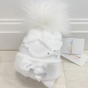 Baby Girls White Pom Pom Hat Ballerina