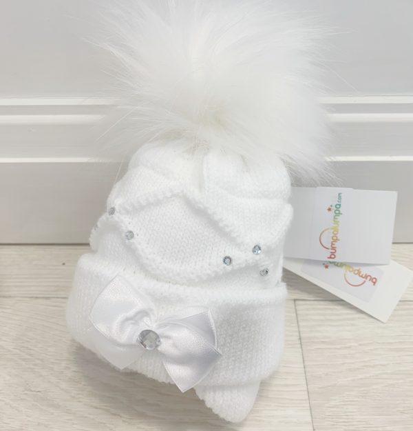 Baby Girls White Pom Pom Hat Ballerina