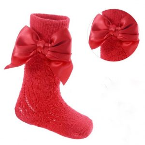 Infants Red Knee Socks With Satin Bow