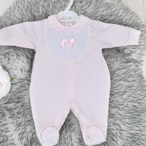 Baby Girls Soft Pink Babygrow with Bow
