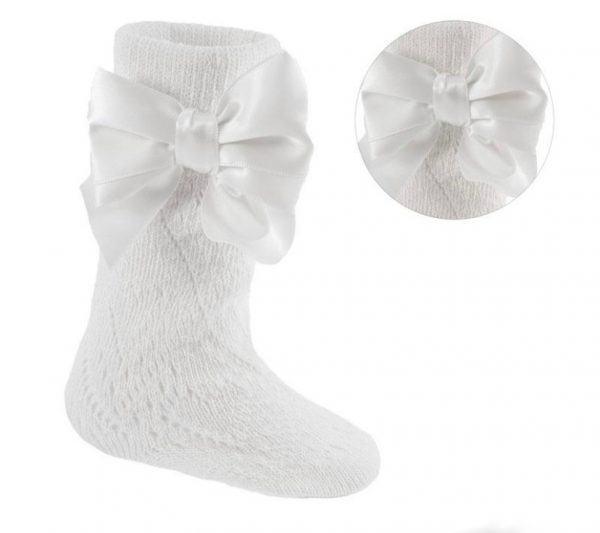Baby Girls White knee High Socks with Bow