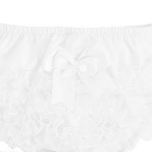 Baby Girls White Frill Knickers with Bow