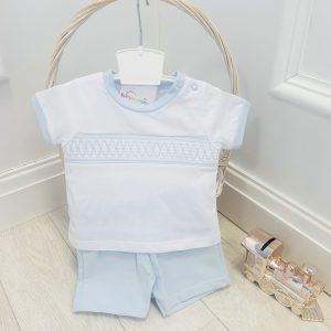 Baby Boys Blue & White Top & Shorts
