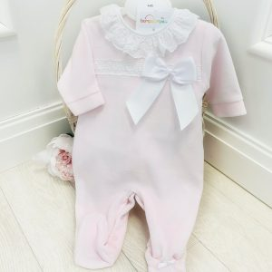 Baby Girls Pink Babygrow with Bow