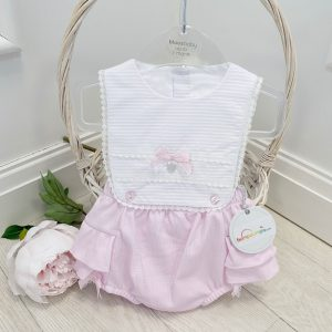Baby Girls Pink & White Sun Romper