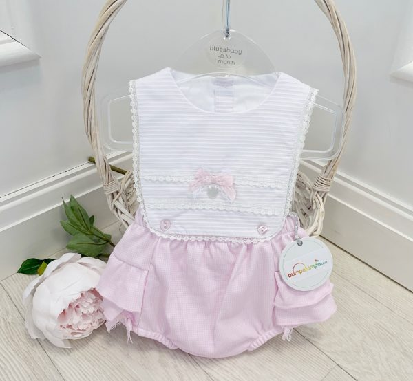 Baby Girls Pink & White Sun Romper