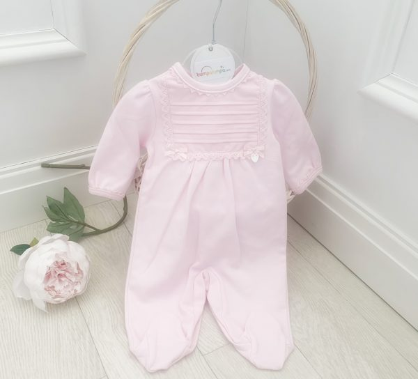 Baby Girls Pink Babygrow with Pink Lace