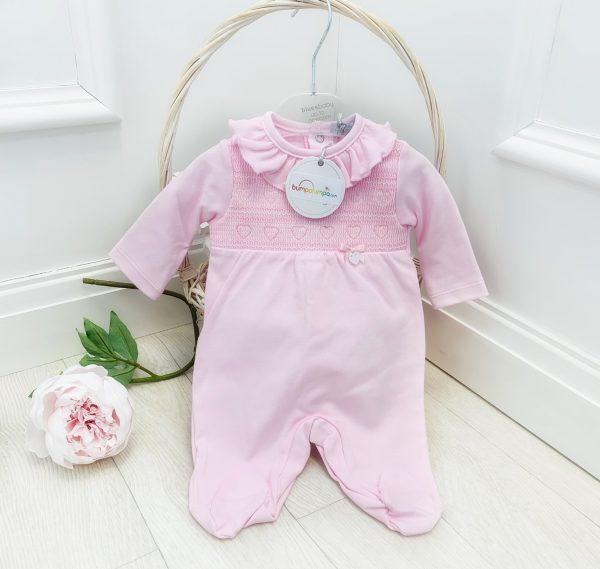 Baby Girls Pink Smock Babygrow