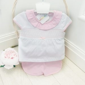 Baby Girls Pink & White Top & Shorts