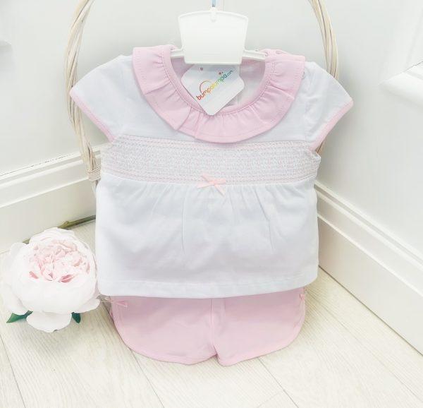 Baby Girls Pink & White Top & Shorts