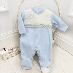 Baby Boys Blue Padded Babygrow