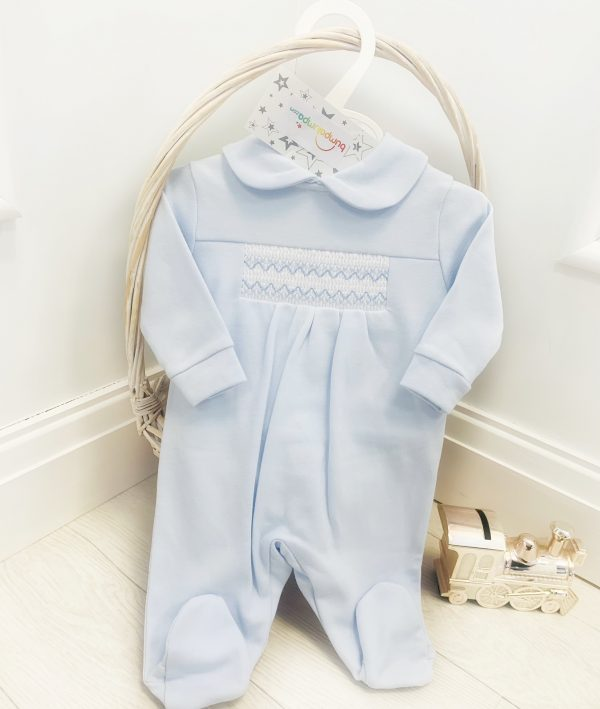 Baby Boys Blue Smock Babygrow