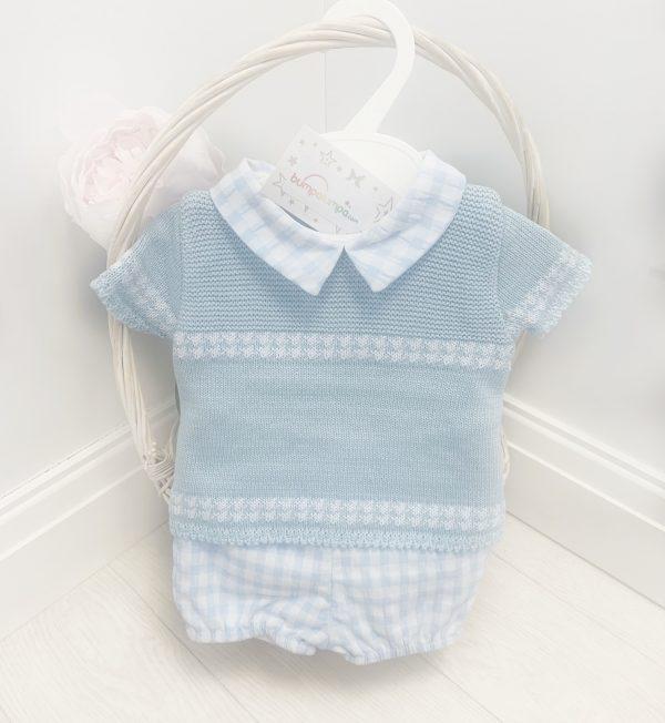 Baby Boys Blue Check Top & Shorts Set