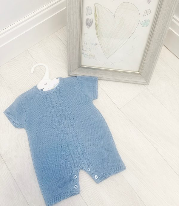 Baby Boys Steel Blue Romper Suit