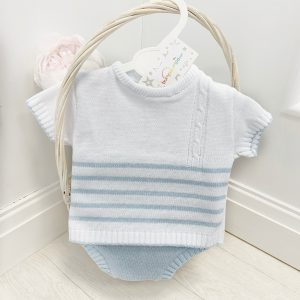 Baby Boys Blue & White Stripe Knitted Set