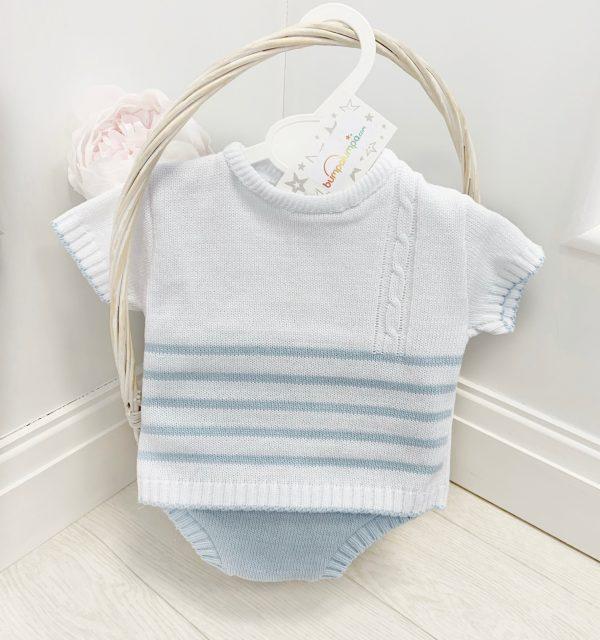 Baby Boys Blue & White Stripe Knitted Set