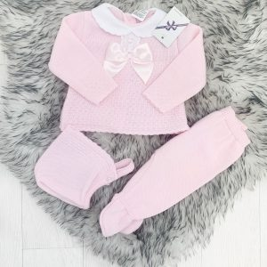Baby Girls Pink Three Piece Set with Satin Bow